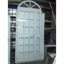 White aluminum door with arch